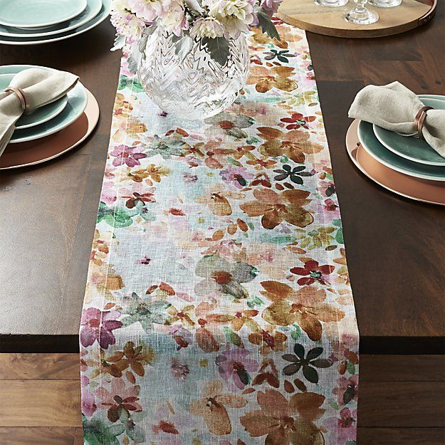 Watercolored Posies Scatter Springtime Color On Natural Linen Table Runner.  Coordinate With Matching Placemats.
