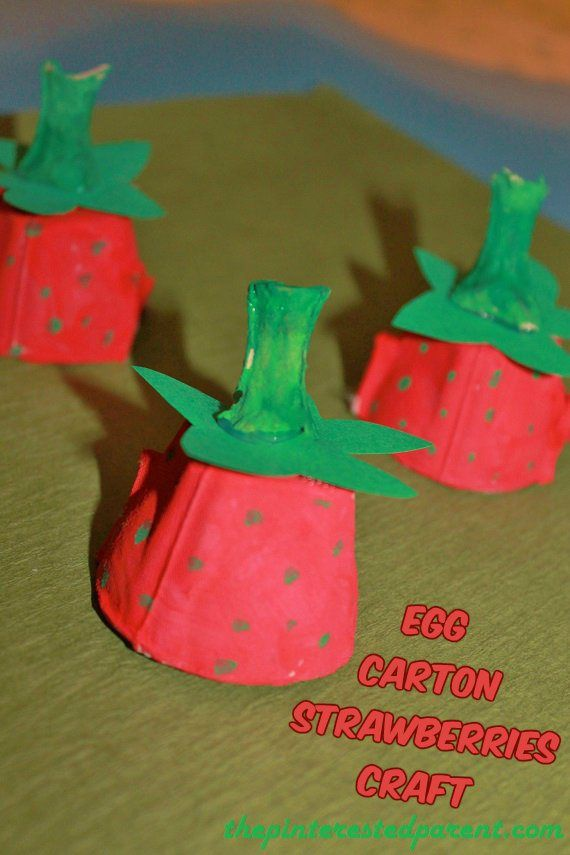 * Egg Carton Strawberries Craft