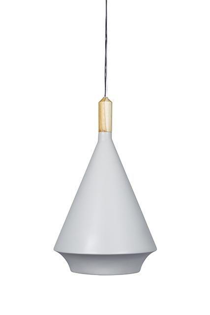 Pendant 30Dx49.5H - grey fibreglass w/ natural teak top