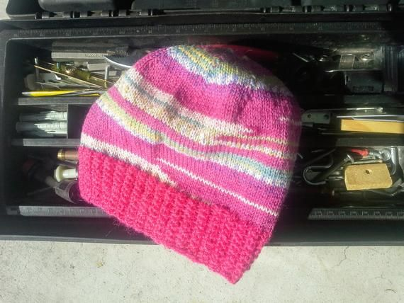 Pink Alpaca Wool Beanie - Pink Hand Knit Womens Hat - Mens Wool Skully -  Pink Blue Yellow White Jaquard Light Thin Hat (Ready to Ship)  29.95 b63429381596