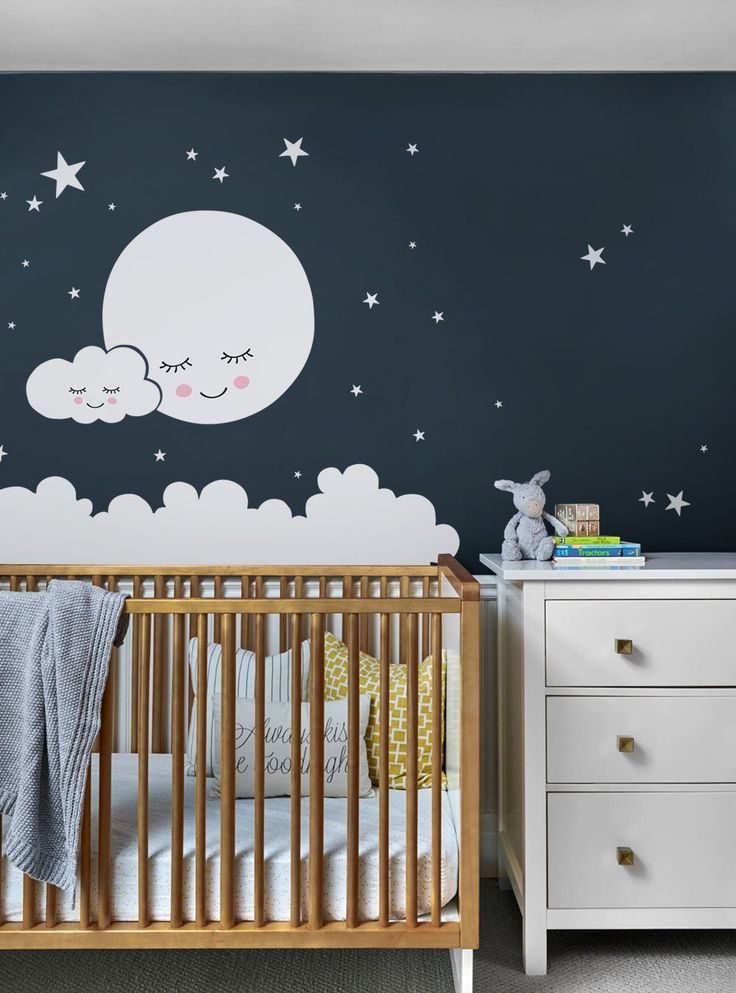 Moon Clouds And Stars Wall Decal In 2019 Star Nursery