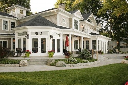 Great back of house... Very nice.: Idea, Dreams Home, Dreams Houses, Screens Porches, Sun Porches, Exterior Colors, American Dreams, Exterior Home, Houses Exterior
