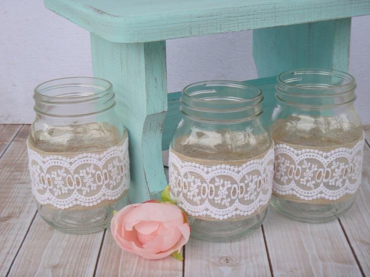 Burlap and Lace Wrapped Mason Jars