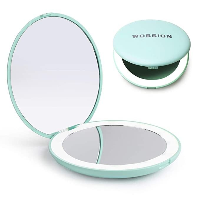 Wobsion Led Lighted Travel Makeup Mirror 1x 10x Magnification Compact Mirror Portable For Handb In 2020 Travel Makeup Mirror Makeup Mirror Compact Mirror