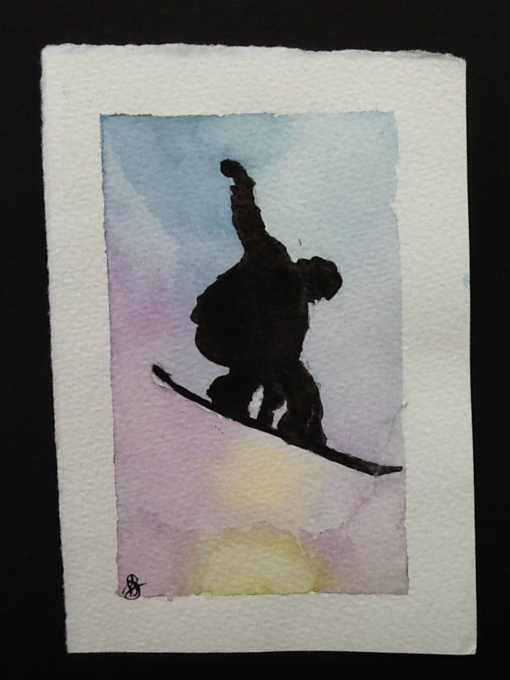 Signed Original watercolour painting by H. JOSÉ, Chamonix s Snowboarder
