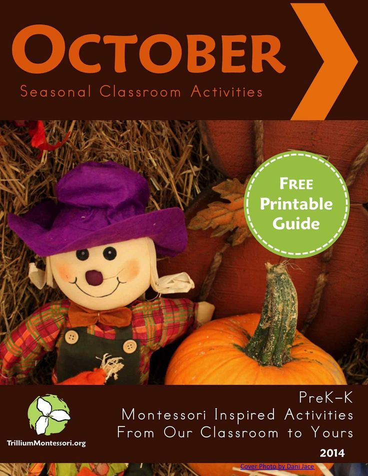 Free printable October Montessori Seasonal Guide ideas for the classroom