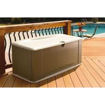 Large Deck Box with Seat  Green Sandstone ResinBest 25  Rubbermaid deck box ideas on Pinterest   Cat grass  Under  . Rubbermaid Exterior Storage Containers. Home Design Ideas