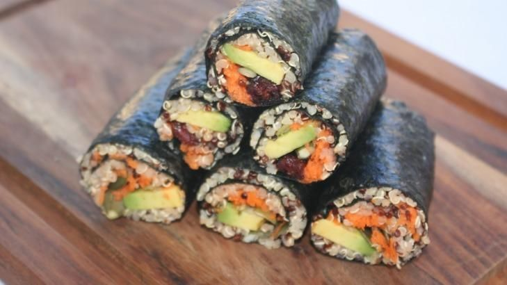 Lola Berry's low-carb wraps ideas including nori and quinoa rolls.