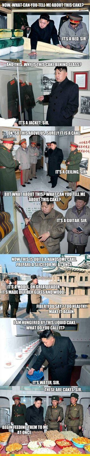 Kim Jong-un pointing at things that he thinks are cakes.: Funnies Pictures, Kim Jong Un, North Korea, Cakes, Even, Humor, Funnies Images, Funnies Stuff, Kim Jongun