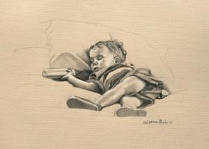 LINEAR-PRIOR - DRAWINGS by Lorna Pirrie. 'Sleepy Boy' c.2012, charcoal on paper, by Lorna Pirrie