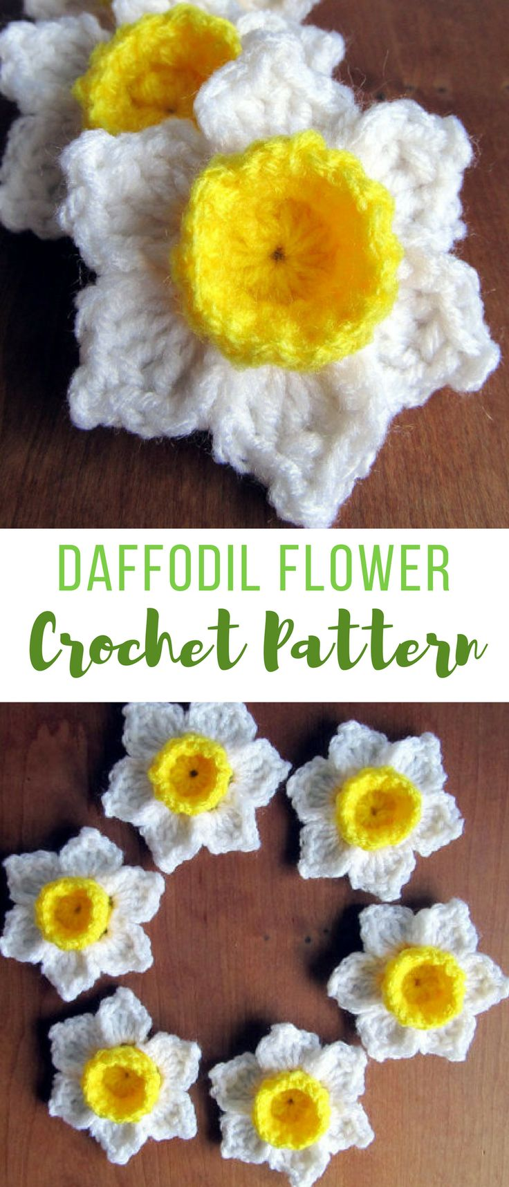 these crochet daffodils are amazing - my brithday month flower, i've always loved them - what a great flower crochet pattern! #crochetflowerpattern #crochetflowers #crochetflowerspattern #crochetdaffodil #crochet #affiliate #crochetedflowers