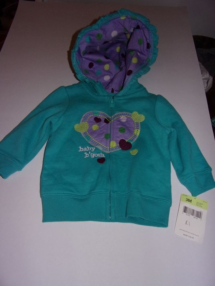 Oshkosh B'Gosh: Baby Girls 3 Months / Pullover Green Hoodie With Zipper/ New #OshKoshBgosh #Hoodie #Everyday