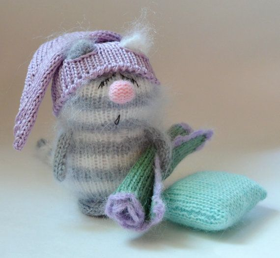 Cat Striped Fast Asleep Gray - Cute Kitten Miniature Amigurumi - Pet Animals - Hand-Knitted Toys - Soft Toys - Stuffed Animals