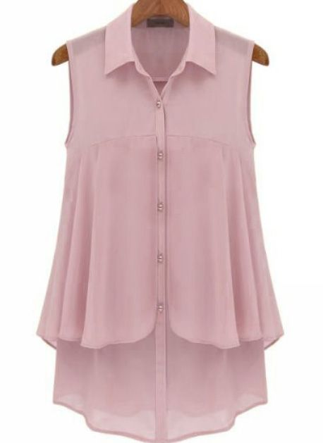 Purple Lapel Sleeveless Buttons Chiffon Blouse US$19.87