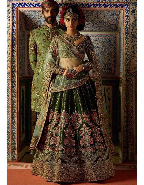 34328dc5edb7d Mehendi Green Velvet Bridal Lehenga Choli in 2019 | Lehenga Choli ...