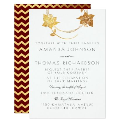 Burgundy Maroon Gold Wreath Gold Red Chevron Card - red gifts color style cyo diy personalize unique
