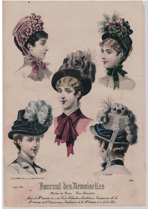 1884. Journal des Demoiselles, with five different images of women's hairstyles, hats and head coverings. This spring models are richly decorated with feathers, bows and other adornments, april 1884