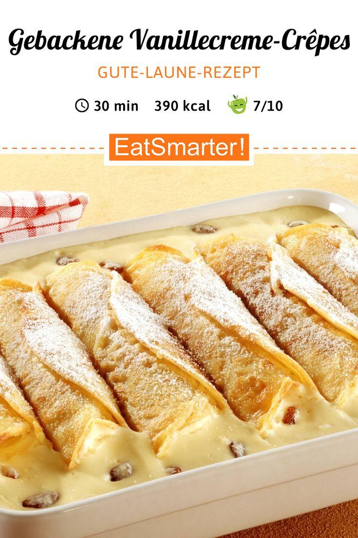 Baked vanilla cream crepes