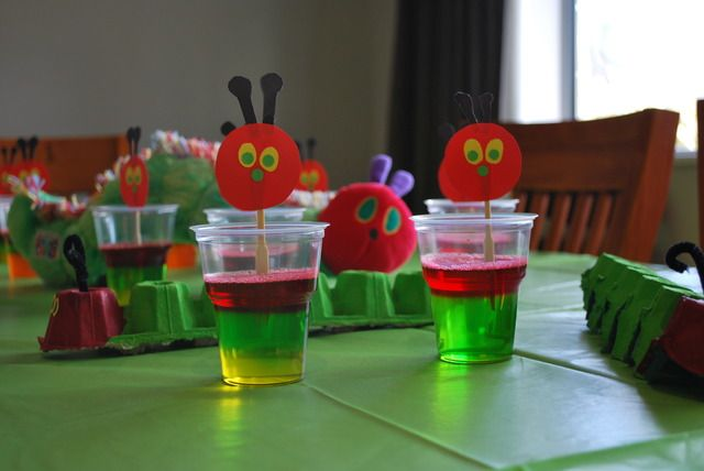 The very Hungry caterpillar 2nd birthday | Catch My Party - layered jello in a cup