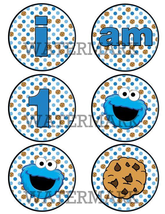 Cookie Monster High Chair Banner I am 1 by LandLPrintables