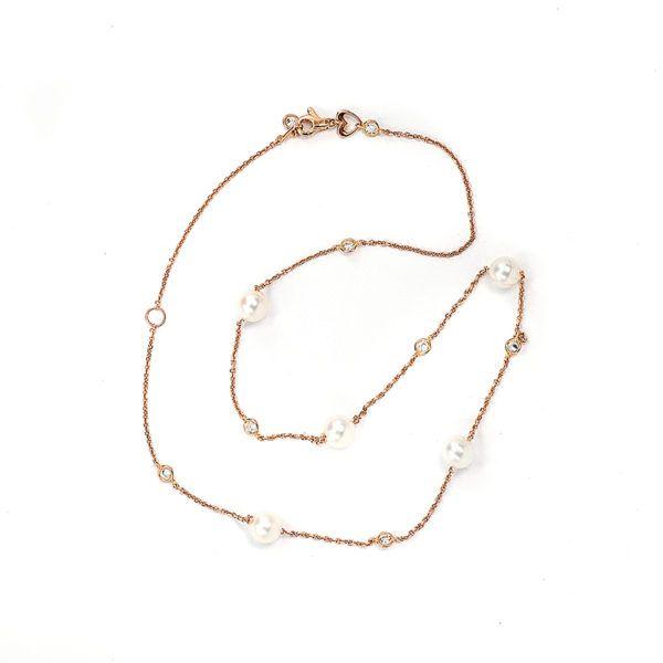 Κολιέ με μαργαριτάρια σε ροζ χρυσό Κ14-7095