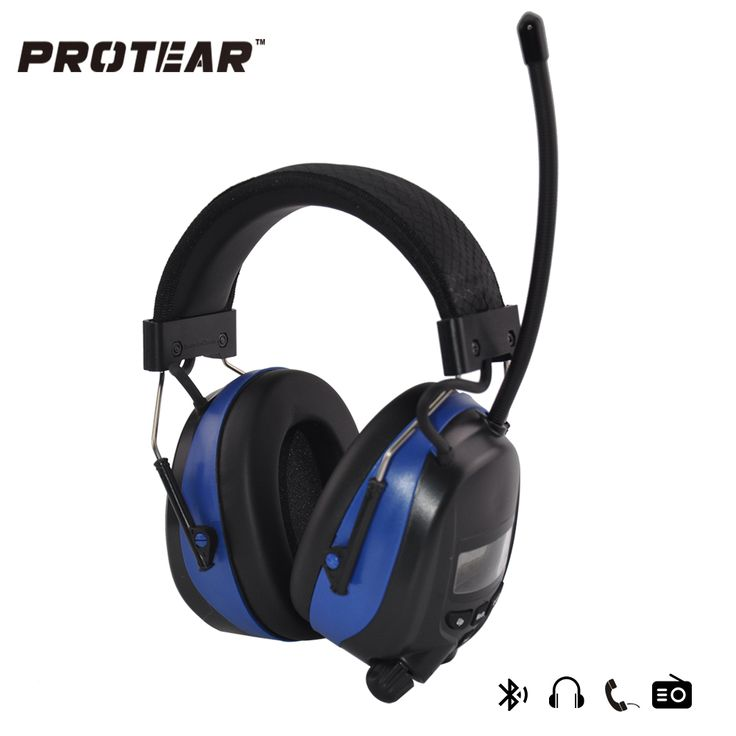 Protear NRR 25dB Hearing Protector Blue tooth AM/FM Radio Earmuffs Electronic Ear Protection Bluetooth Headphone Ear Defender