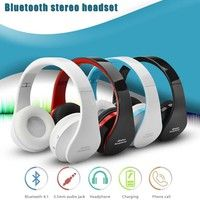 Wish   Foldable Wireless Bluetooth Stereo Bass Headphone w/Mic for iPhone Handfree