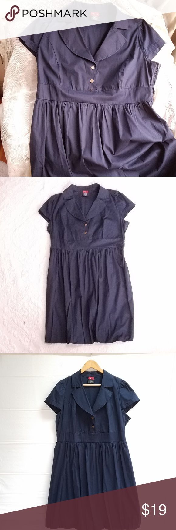"Ruby Rox Navy-Blue Shirtwaist Dress Classic, retro shirtwaist dress by Roby Rox in navy-blue polyester/Spandex. Side zipper. Cap sleeves. Wide waistband (missing belt). Full skirt with ""balloon"" hem (see pic). Fully lined. Excellent, like-new condition. Machine wash, cold. Measurements (flat): chest/armpits 24"", waist 19"", length 39"". Ruby Rox Dresses"