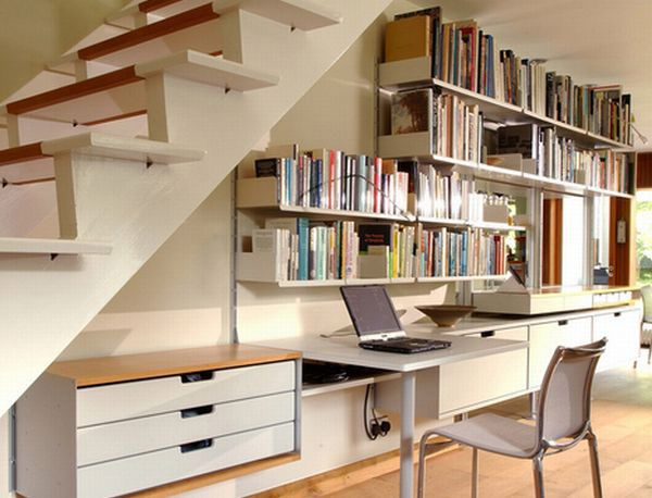 Beautiful Design Of Storage Under Stairs; Maximize Your Unused Space With Function  : Modern Home Office Under Stairs Storage With White Table And Chair Also  ...