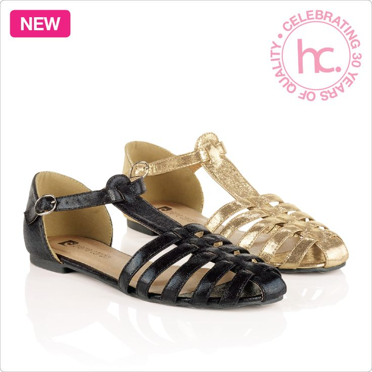 A Pierre Cardin design. Trixy sandals from R29 a month! Available in sizes 4-8. Colour: black and metalic gold.