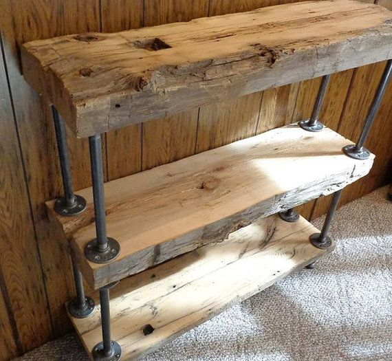 Reclaim Barn beam Industrial shelves / Book by GypsieProjects, $325.00