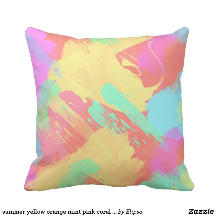 summer yellow orange mint pink coral watercolor throw pillow