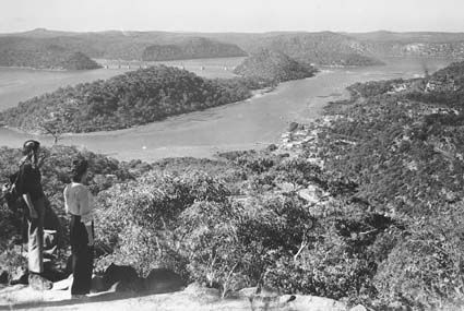 Hawkesbury river bridge and valley from Muogamarra Sanctuary 1947
