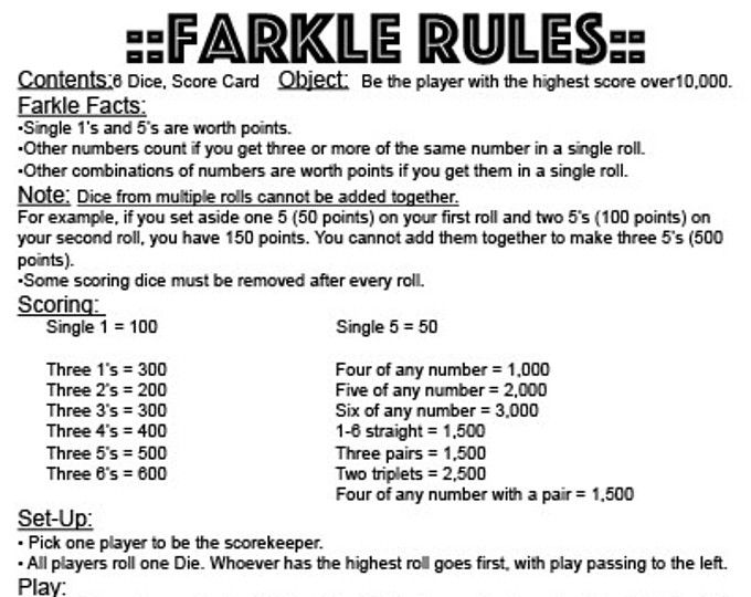 graphic about Farkle Rules Printable named PDF 11x17 Farkle tips - instantaneous obtain - print your particular