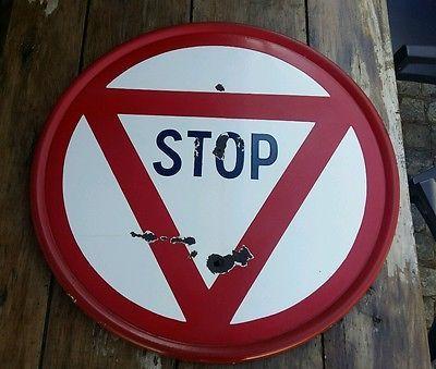 Plaque émaillée STOP ancien industriel vintage déco loft garage