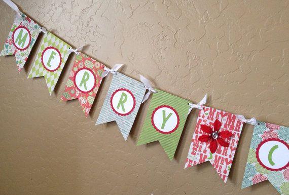 Merry Christmas Ribbon Pennant Banner | Christmas banners, Pennant ...