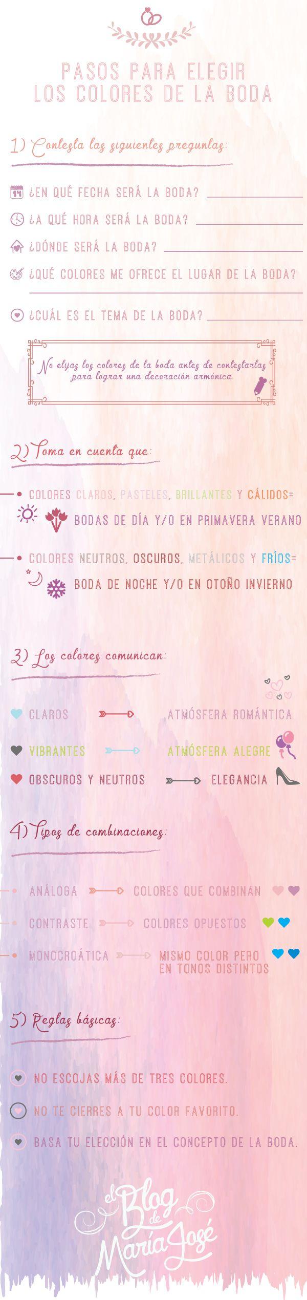 Pasos para elegir los colores de la boda