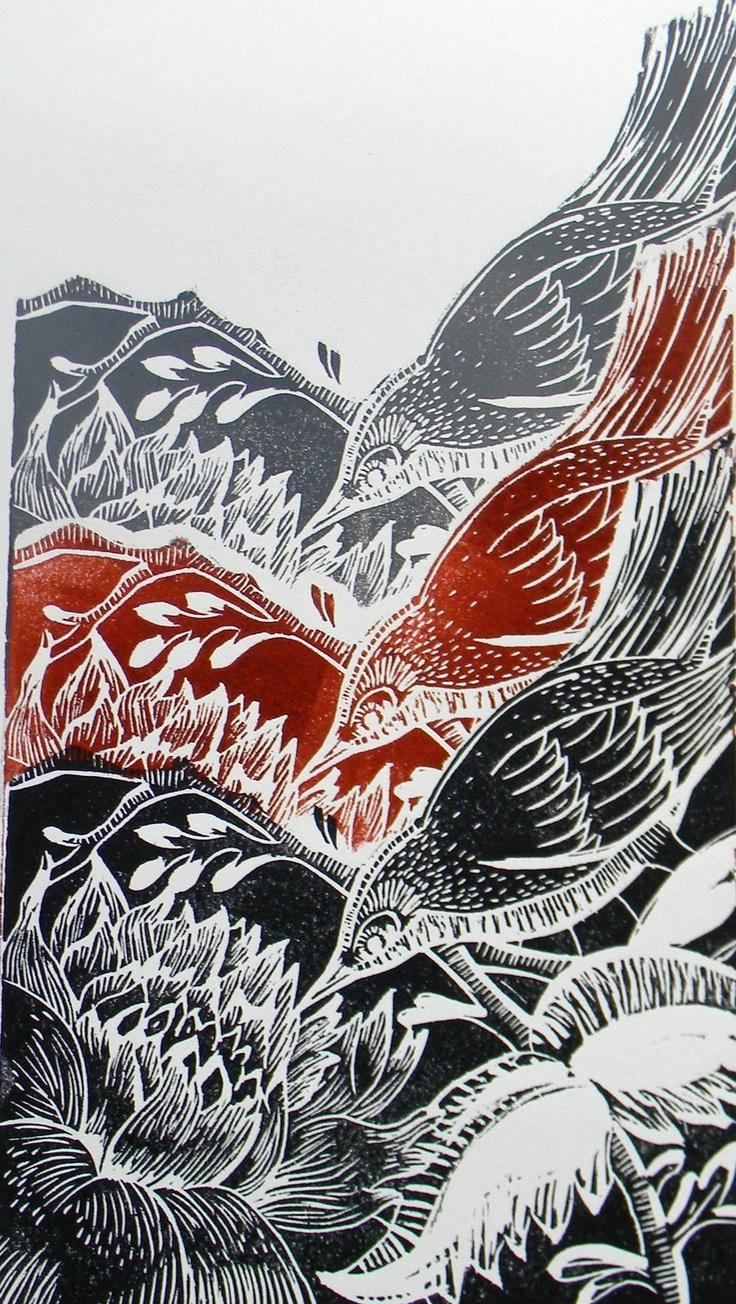 Birds linocut print tessellation, Amanda Colville