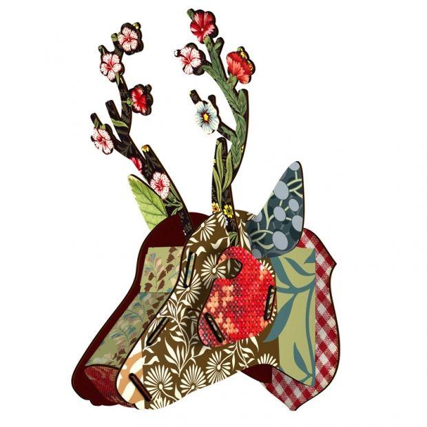 Floral Cardboard Deer Head