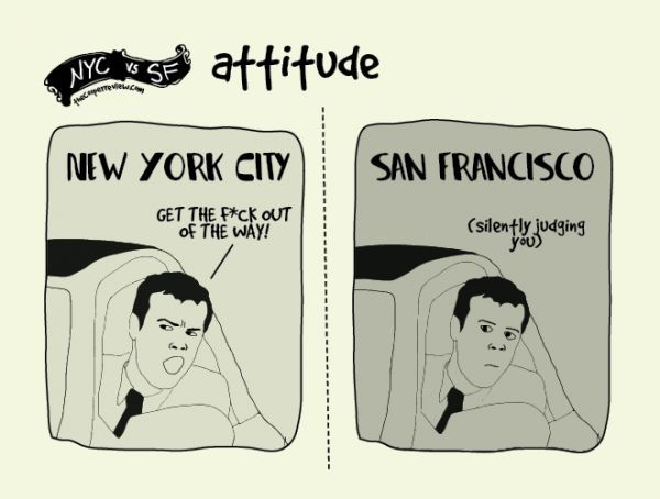 The Differences Between Living In New York And San Francisco, Illustrated - Neatorama