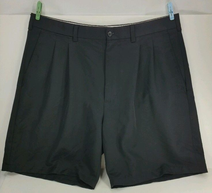 pga tour golf shorts pleated front black size 38 rn 37763