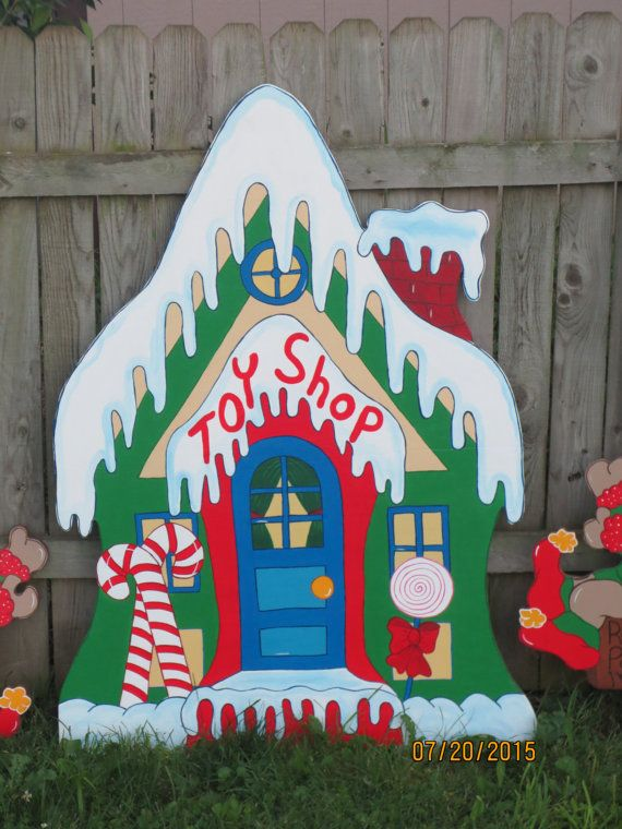 Toy Shop Santa's Village with elves Christmas by ChartinisYardArt