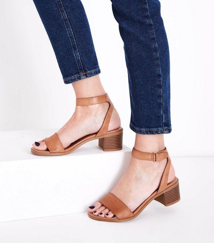 Tan Low Block Heel Flexible Sole Sandals New Look Heels Sandals Heels Fashion Heels