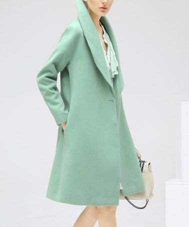 Look what I found on #zulily! Green Wide-Collar Long Peacoat #zulilyfinds