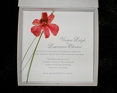 Couture boxed wedding invitations featuring real (preserved) orchid flowers, available at Etsy!