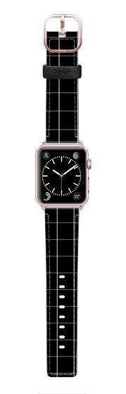 Casetify Apple Watch Band (42mm) Saffiano Leather Watch Band - Grid Black for Watch by Filip Baotić