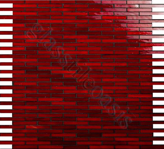 Dynamic Surfaces Mini Brick Victorian Uniform Brick Crimson Glossy Red Glass