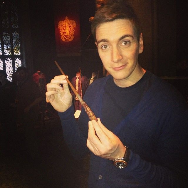 Oliver Phelps with George Weasley's wand at The Harry Potter Studio Tour!