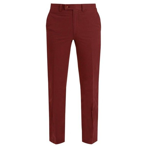 Brioni Slim-fit cotton chino trousers (16,135 THB) ❤ liked on Polyvore featuring men's fashion, men's clothing, men's pants, men's casual pants, burgundy, mens slim pants, mens chino pants, mens slim fit pants, mens chinos pants and mens burgundy pants