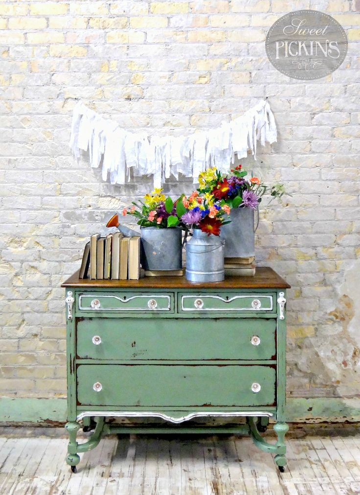 Beautiful vintage dresser painted with Oh Olive! Sweet Pickins Milk Paint .